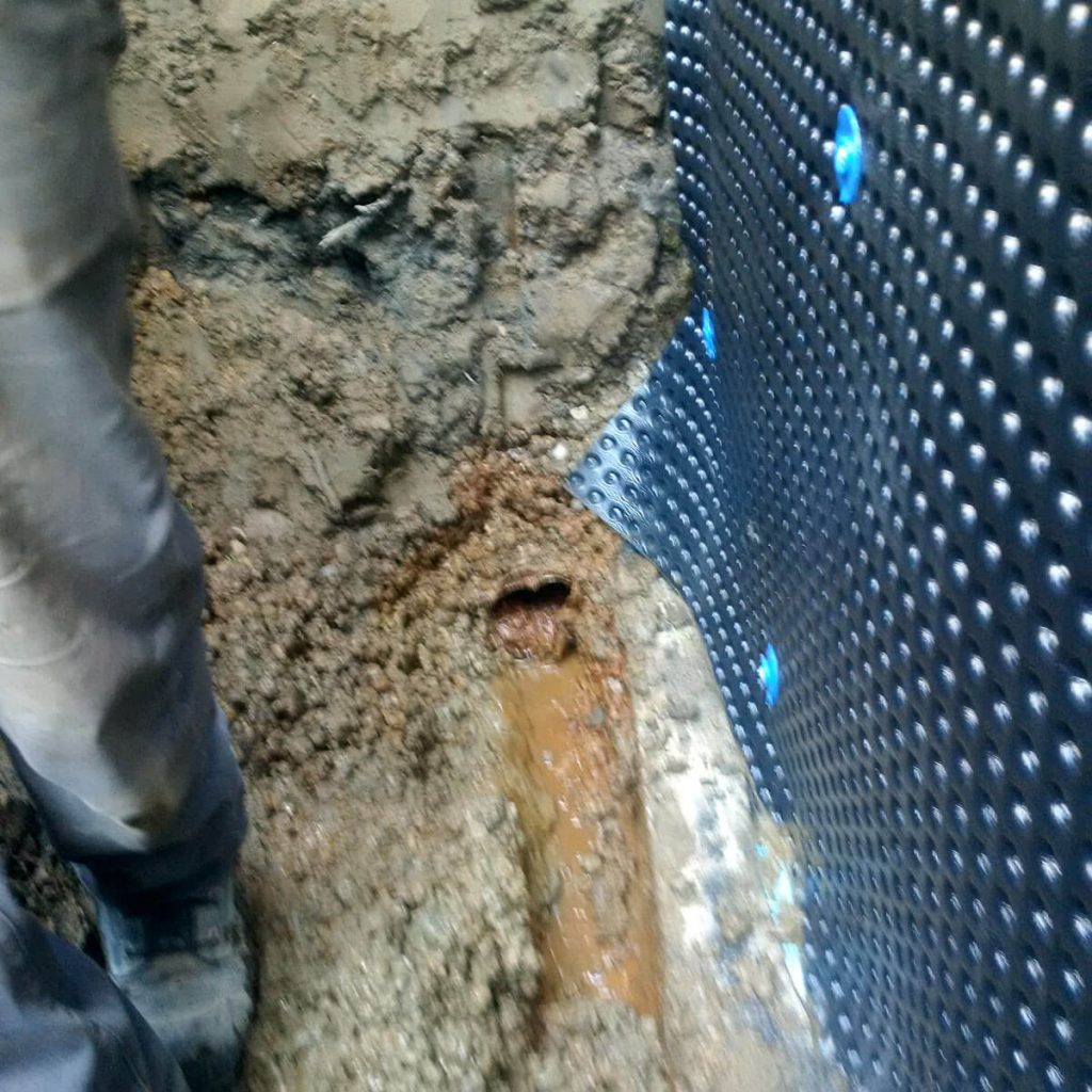 Exterior Waterproofing Broken Pipe