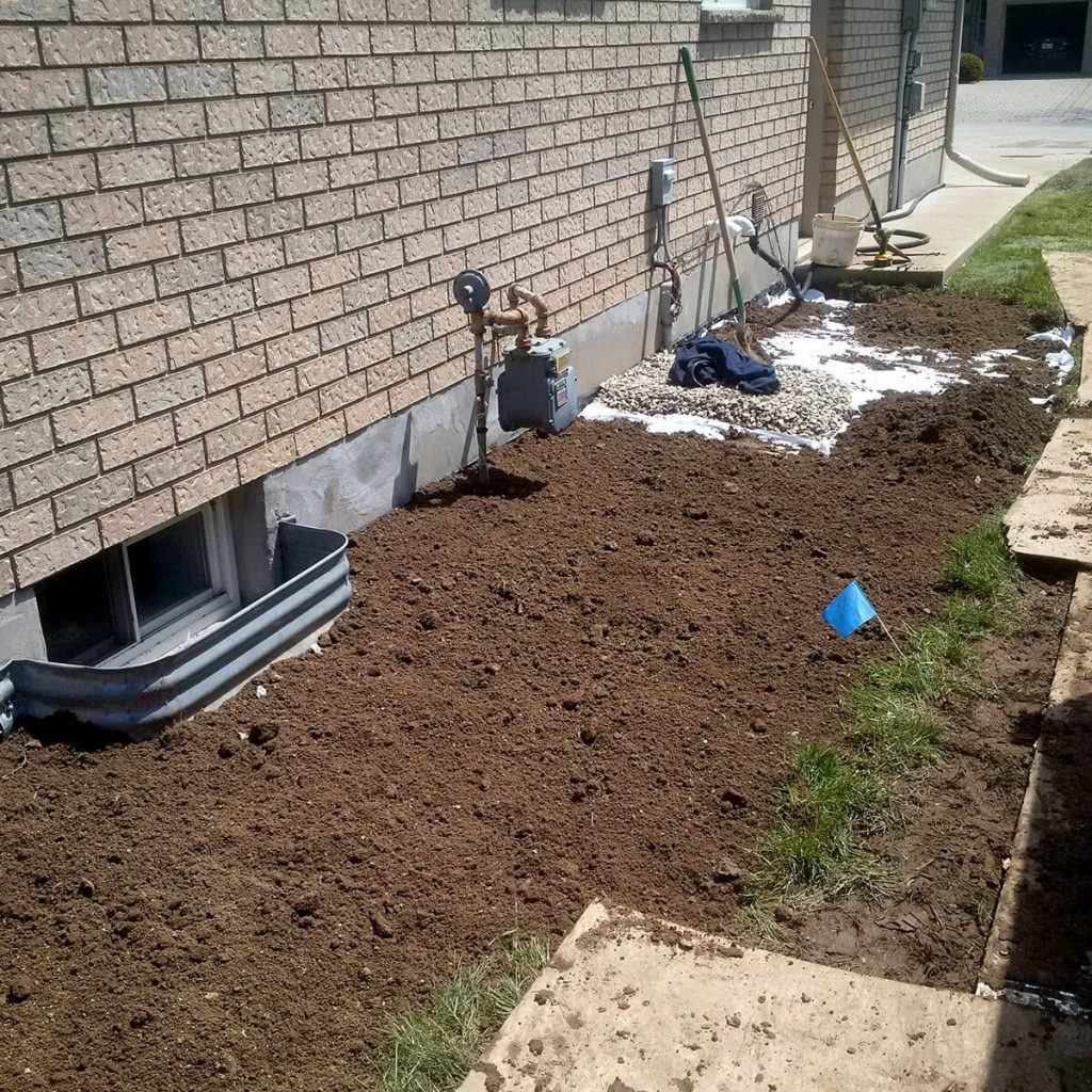 Exterior Waterproofing Fill with Soil